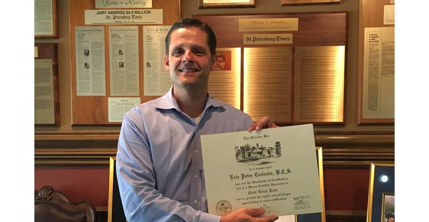 florin roebig is pleased to announce that eric czelusta has achieved the honor of recognition by the florida bar as a board certified civil trial lawyer