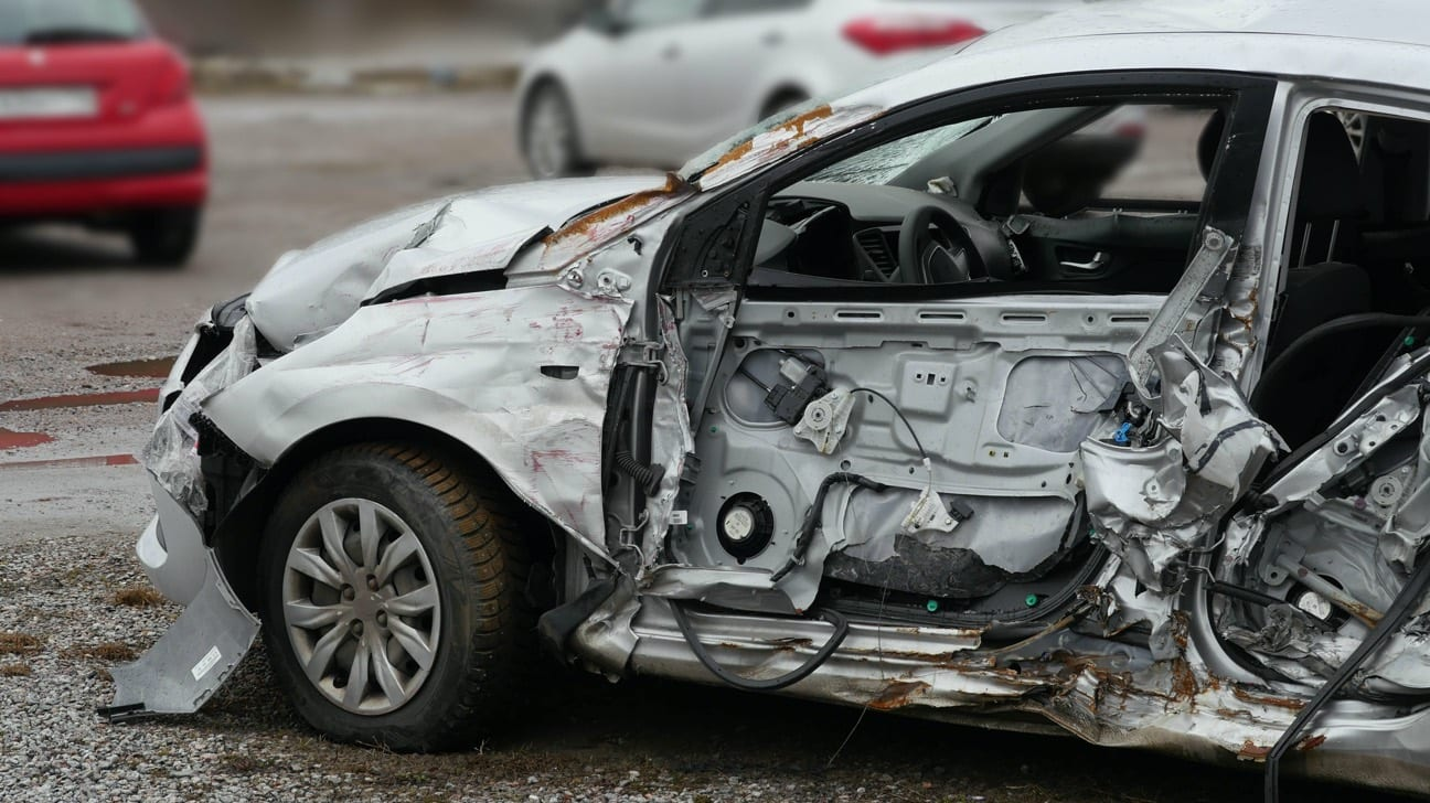 Sub-compact car after auto accident